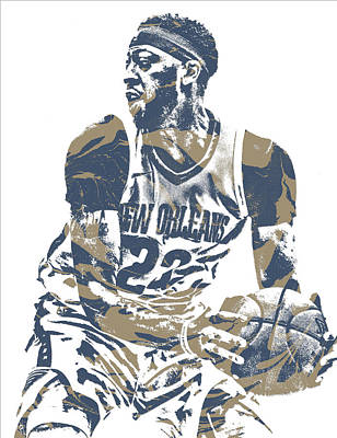 Pelican Mixed Media - Anthony Davis New Orleans Pelicans Pixel Art 21 by Joe Hamilton