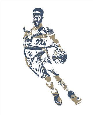 Pelican Mixed Media - Anthony Davis New Orleans Pelicans Pixel Art 30 by Joe Hamilton