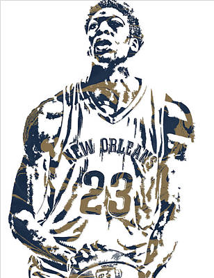 Pelican Mixed Media - Anthony Davis New Orleans Pelicans Pixel Art 4 by Joe Hamilton