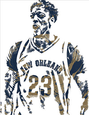 Pelican Mixed Media - Anthony Davis New Orleans Pelicans Pixel Art 5 by Joe Hamilton