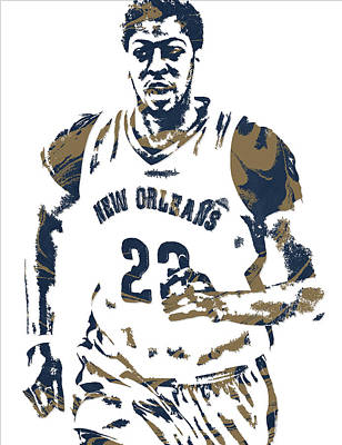 Pelican Mixed Media - Anthony Davis New Orleans Pelicans Pixel Art 6 by Joe Hamilton