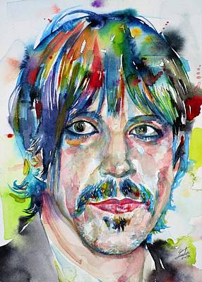 Painting - Anthony Kiedis - Watercolor Portrait by Fabrizio Cassetta