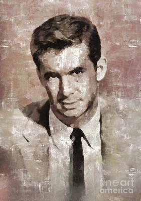 Elvis Presley Painting - Anthony Perkins, Actor by Mary Bassett