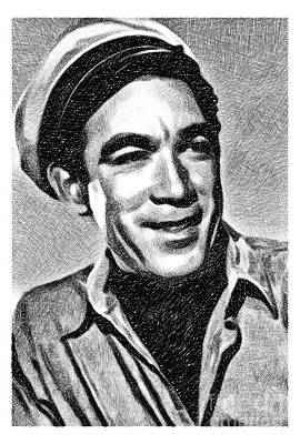 Musicians Drawings - Anthony Quinn, Vintage Actor by JS by Esoterica Art Agency
