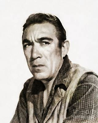 Quinn Painting - Anthony Quinn, Vintage Actor by John Springfield