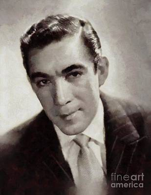 Quinn Painting - Anthony Quinn, Vintage Actor by Sarah Kirk