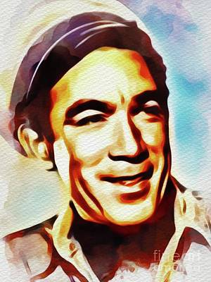 Painting - Anthony Quinn, Vintage Movie Star by John Springfield