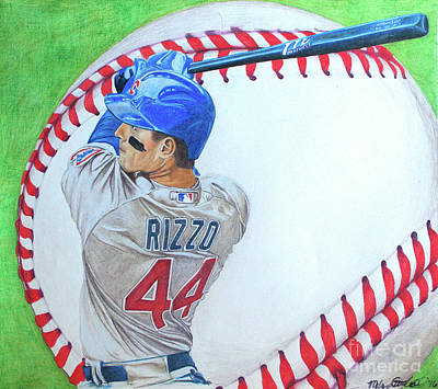 Wrigley Field Drawing - Anthony Rizzo 2016 by Melissa Goodrich