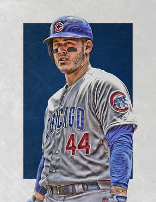 Door Mixed Media - Anthony Rizzo Chicago Cubs 3 by Joe Hamilton
