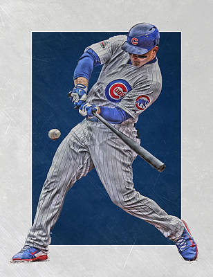 Door Mixed Media - Anthony Rizzo Chicago Cubs Art 1 by Joe Hamilton
