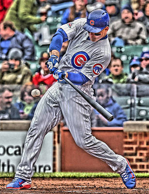 Cities Painting - Anthony Rizzo Chicago Cubs by Joe Hamilton