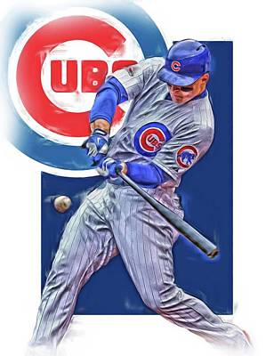 Chicago Wall Art - Mixed Media - Anthony Rizzo Chicago Cubs Oil Art by Joe Hamilton