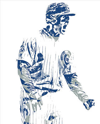 Mixed Media - Anthony Rizzo Chicago Cubs Pixel Art 21 by Joe Hamilton
