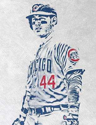 Door Mixed Media - Anthony Rizzo Chicago Cubs Pixel Art by Joe Hamilton