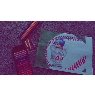 Chicago Baseball Drawing - Anthony Rizzo by Myka Castel