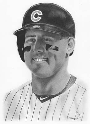 Chicago Cubs Drawing - Anthony Rizzo by Tim Trojan