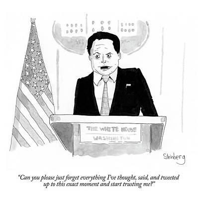 Drawing - Anthony Scaramucci At Press Briefing by Avi Steinberg