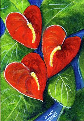 Anthurium Flowers #272 Art Print by Donald k Hall