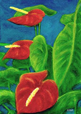 Anthurium Flowers #296 Art Print by Donald k Hall