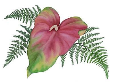 Painting - Anthurium N Ferns by DK Nagano