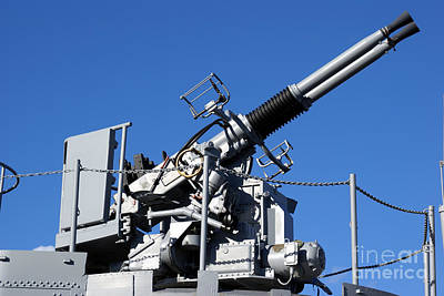 Photograph - Anti Aircraft Turret Defense Guns On A Navy Ship by Olivier Le Queinec
