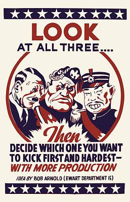 Wwii Propaganda Digital Art - Anti Axis Powers Propaganda  by Daniel Hagerman