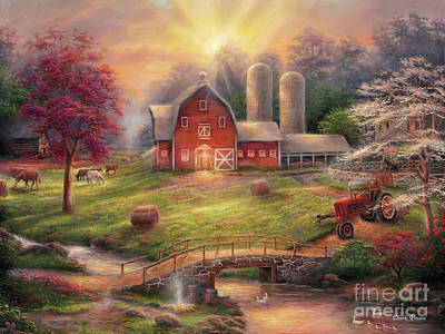 Farm Painting - Anticipation Of The Day Ahead by Chuck Pinson