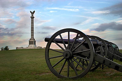 Photograph - Antietam Cannon And Monument At Sunset by Judi Quelland