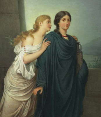 Embrace Painting - Antigone And Ismene by Emil Teschendorff