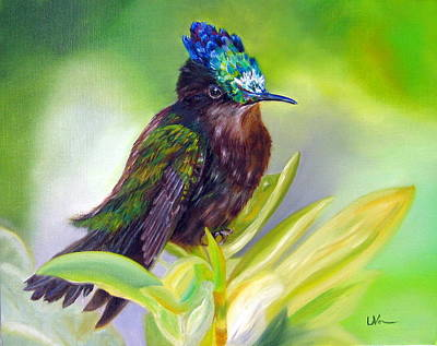 Painting - Antillean Crested Hummingbird by LaVonne Hand