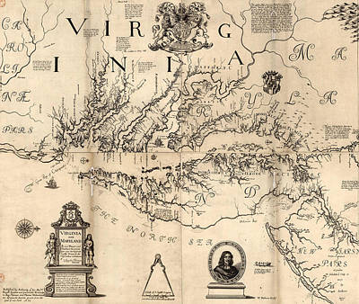 Mixed Media - Antique 1673 Virginia Map by Dan Sproul