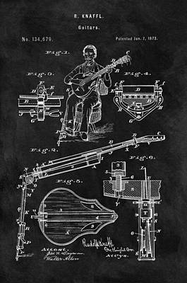 Musicians Drawings - Antique 1873 Guitar by Dan Sproul