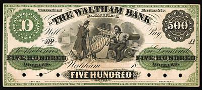 Antique 500 Dollar Bill - The Waltham Bank Art Print by Mountain Dreams