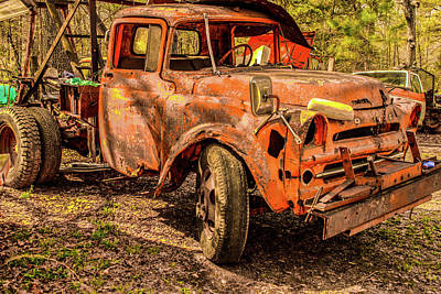 Photograph - Antique Abandoned Truck Wrecker by Douglas Barnett
