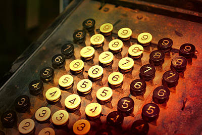 Photograph - Antique Adding Machine Keys by Ann Powell
