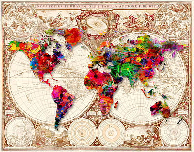 Painting - Antique And Splatter Map by Gary Grayson