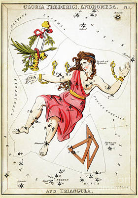 Constellations Painting - Antique Astronomical Zodiac Chart Gloria Frederici Andromeda by Tina Lavoie