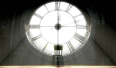 Antique Look Digital Art - Antique Backlit Clock And Empty Chair by Allan Swart