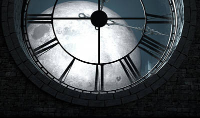 Antique Backlit Clock And Moon Art Print by Allan Swart