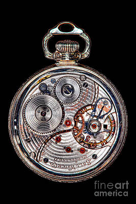 Mechanism Photograph - Antique Ball Railroad Watch Movement  by Olivier Le Queinec