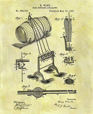 Liquor Mixed Media - Antique Beer Bottling Patent by Dan Sproul