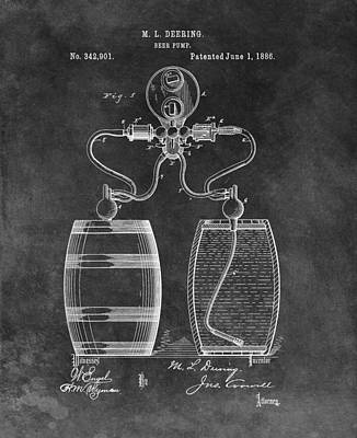Food And Beverage Drawings - Antique Beer Pump Patent by Dan Sproul