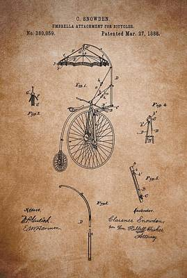 Bicycle Drawing - Antique Bicycle Umbrella Patent by Dan Sproul