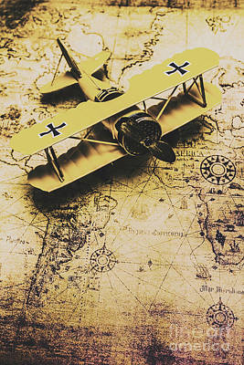 Antique Biplane On Old Map Art Print