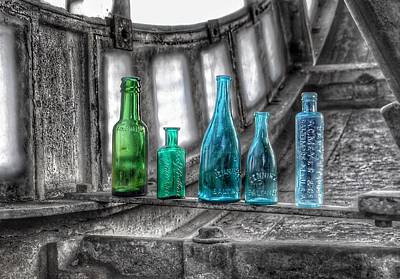 Photograph - Antique Blue Green Glass Bottle Collection Baltimore - Maryland Glass Corporation by Marianna Mills