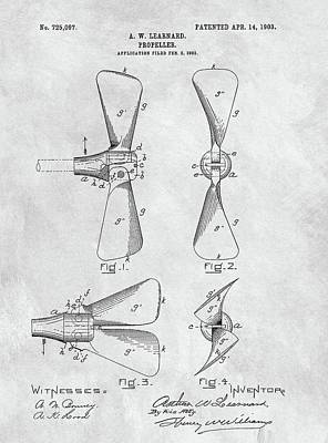 Drawing - Antique Boat Propeller Patent by Dan Sproul