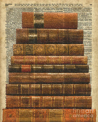 Antique Book Stock Digital Collage Dictionary Art Art Print by Jacob Kuch