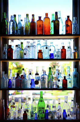 Photograph - Antique Bottle Window Display by Marilyn Hunt