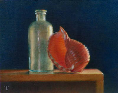 Wall Art - Painting - Antique Bottle With Shell by Amanda Teicher