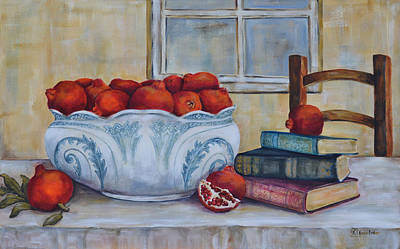 Fruit Bowl Window Painting - Antique Bowl And Pomegranates by Kareni Bester